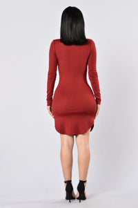 Friday Night Fever Dress - Burgundy Angle 5