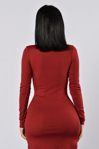 Friday Night Fever Dress - Burgundy Angle 3