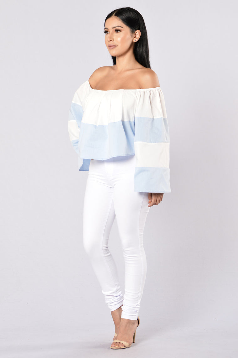 Writers Block Top - White/Blue