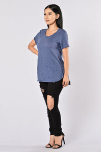 Keep Quiet Tee - Navy