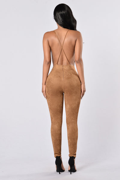 Crawling Back to Me Jumpsuit - Camel