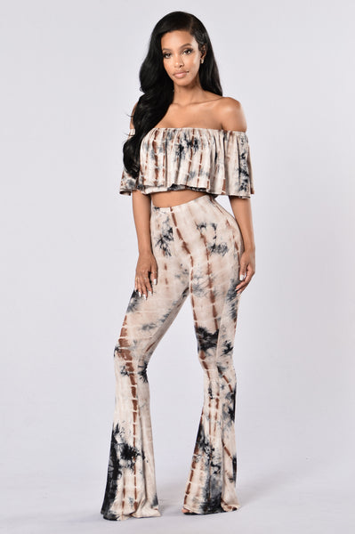 Shakira Tie Dye Pants - Taupe/Brown