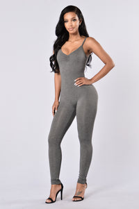 Always On The Run Jumpsuit - Charcoal