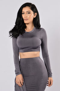 Internet Famous Crop Top - Charcoal