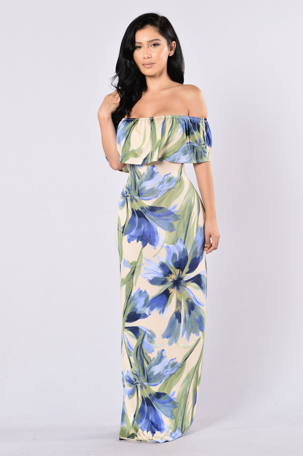 Saint Lucia Dress - Taupe/Blue