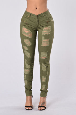 Zip It Up Jeans - Utility Green