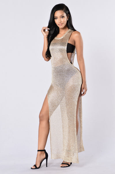 Hot Crush Cover Up Dress - Gold