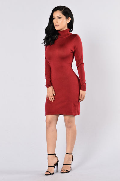 Keep Warm Dress - Burgundy