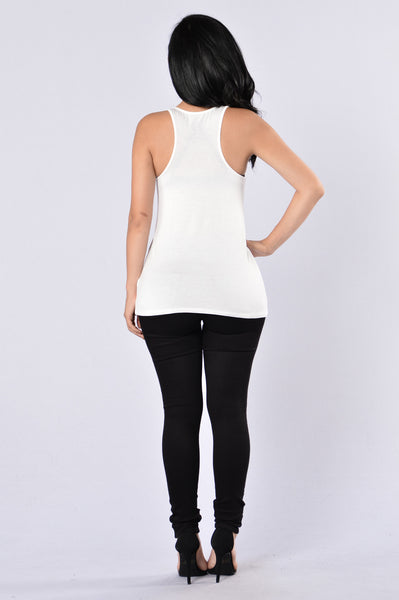 Lipstick and Heels Tank Top - White