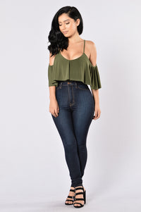 Show A Little Bodysuit - Olive Angle 4