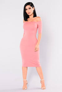 Saira Off Shoulder Dress - Rose