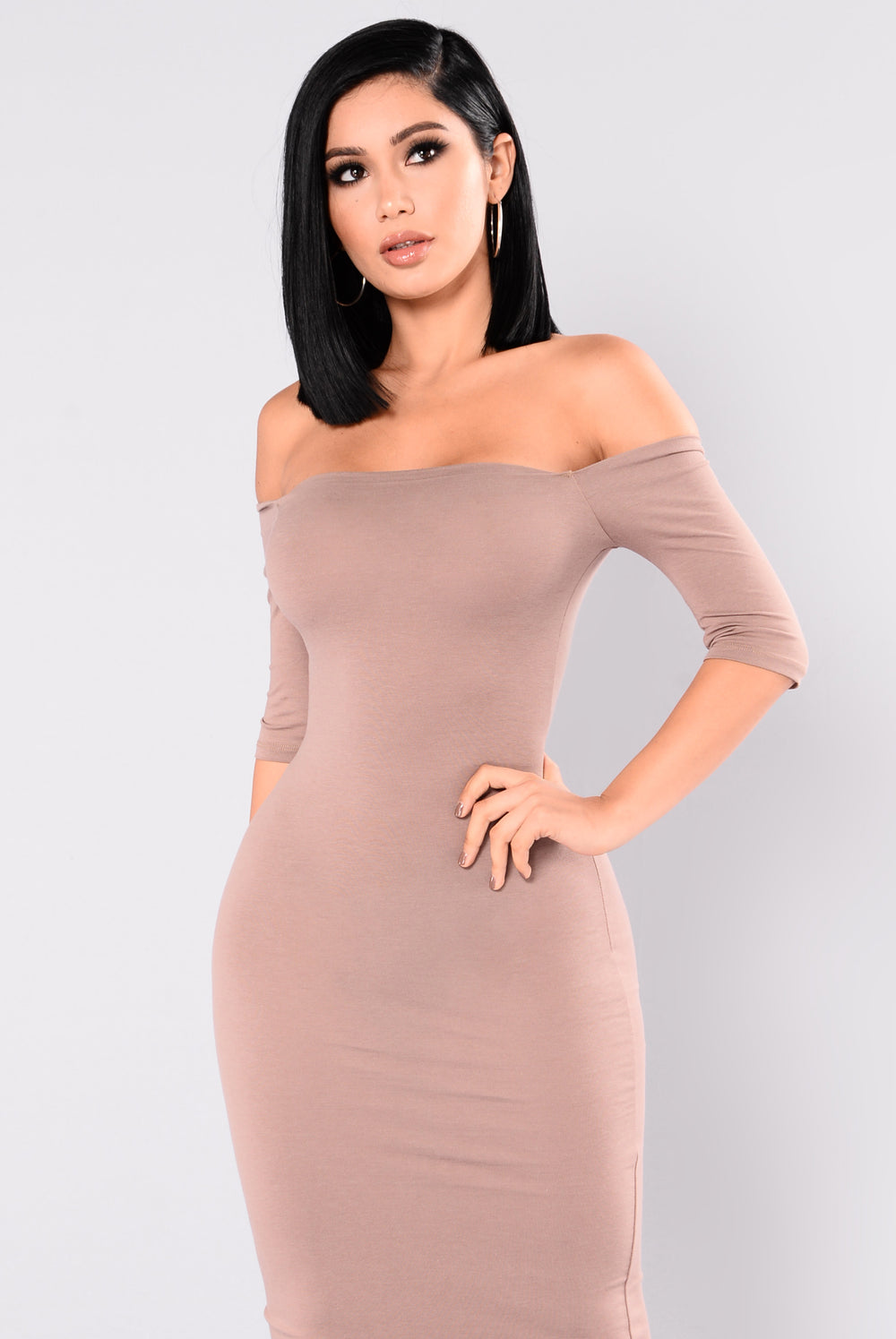 Saira Off Shoulder Dress - Mocha