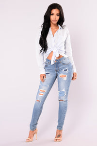 Jazlyn Skinny Jeans - Medium Blue Wash