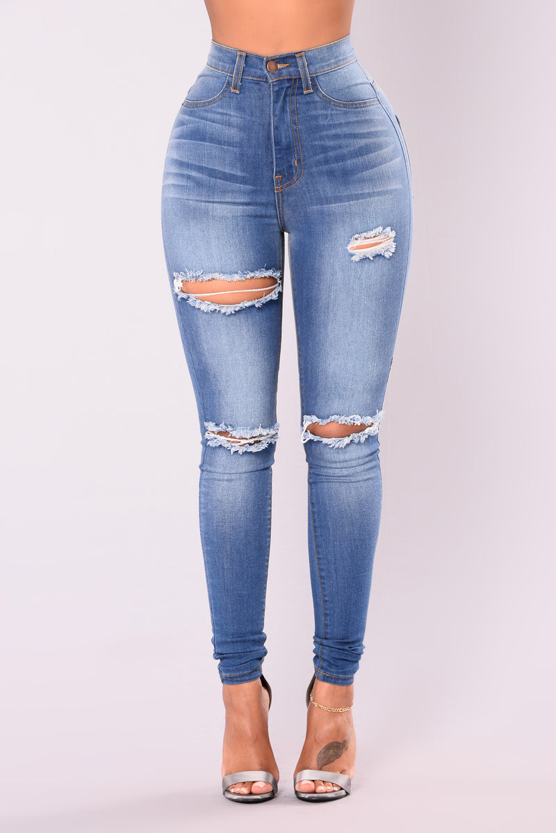 Kneed It Skinny Jeans - Medium Blue
