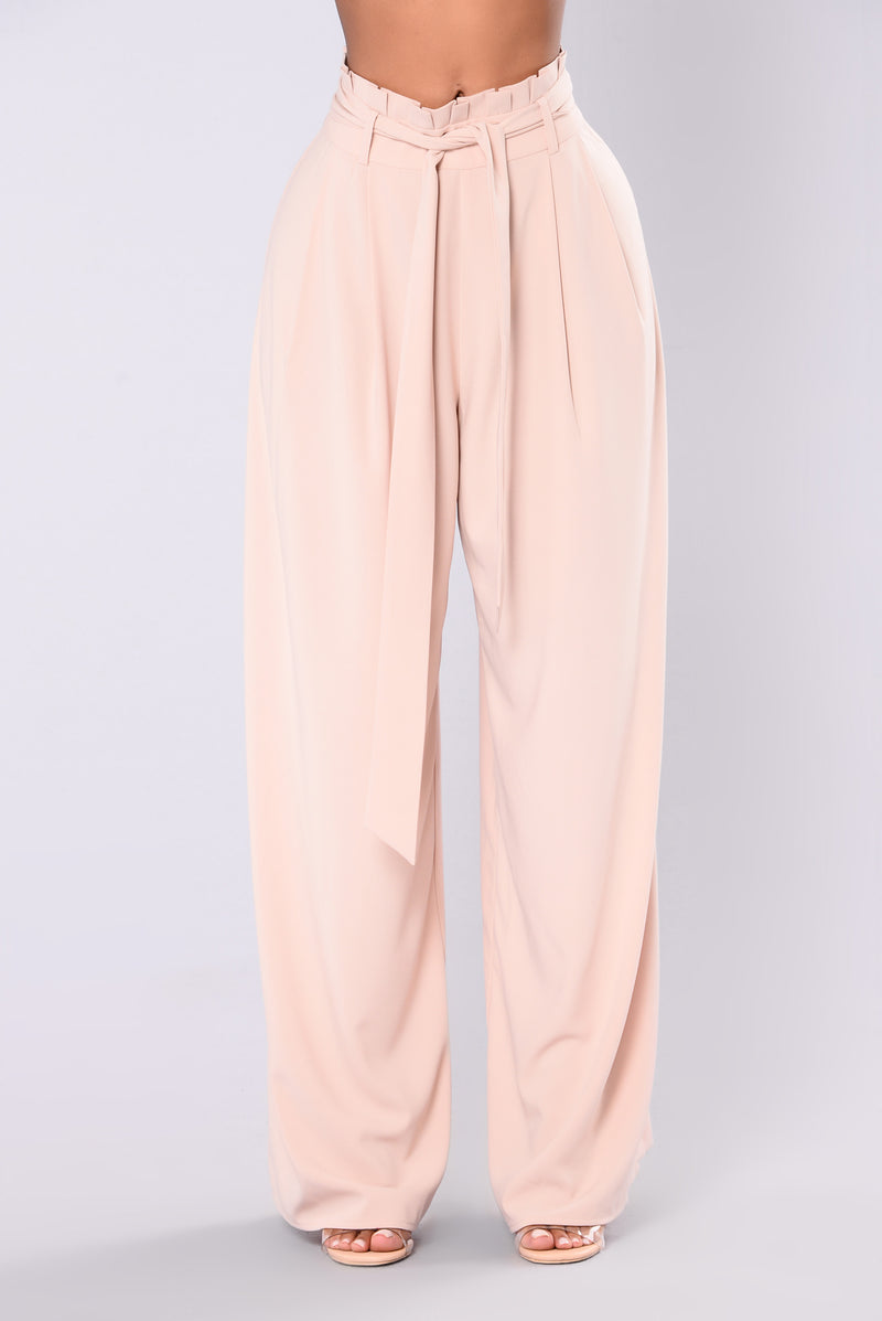 Carly Shay Waist Tie Pants - Nude