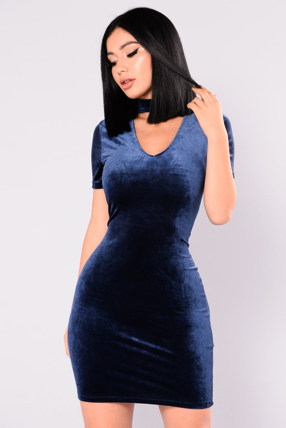 Shawna Velvet Dress - Navy