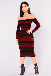 Carol Striped Dress - Burgundy/Black