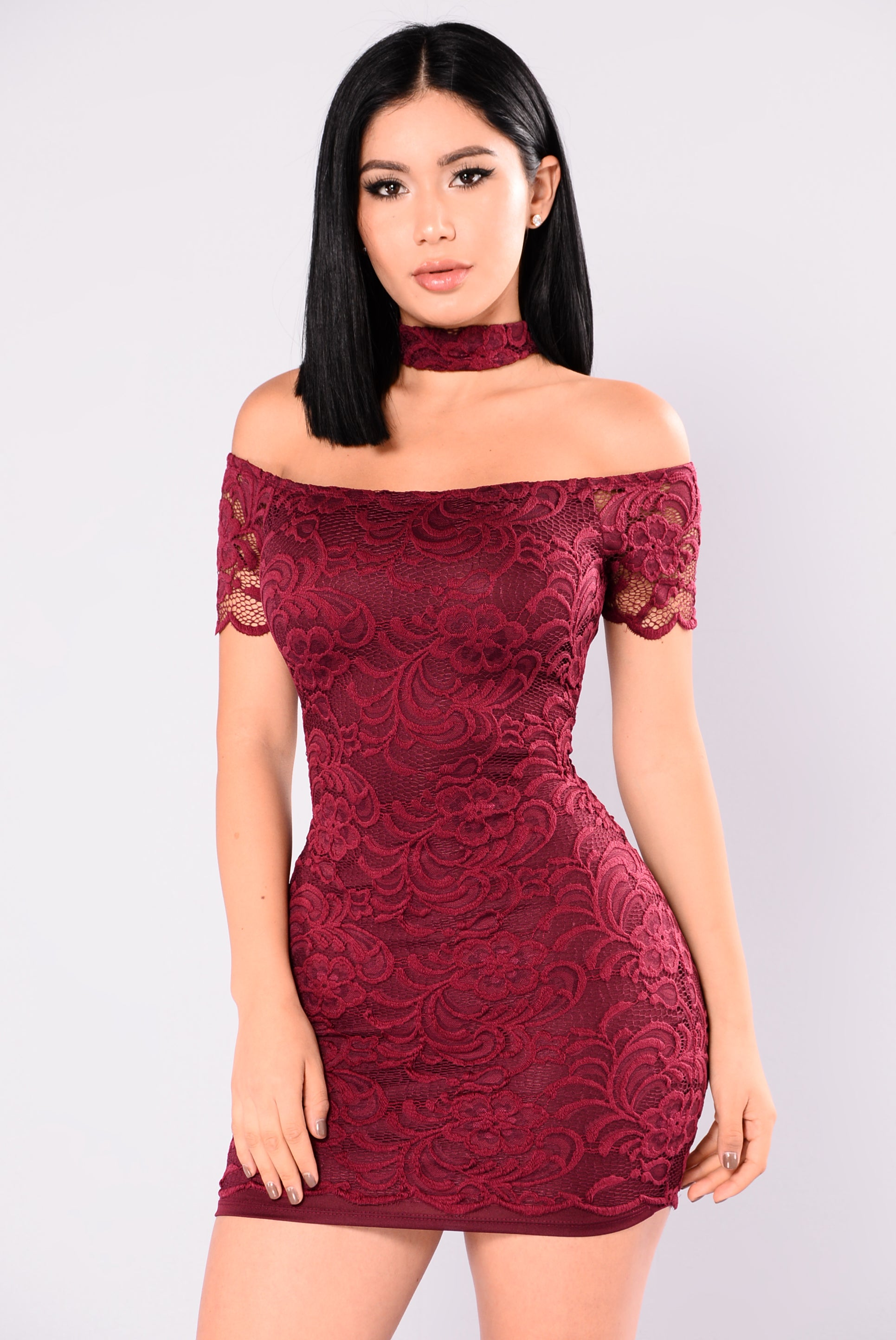 Rory Lace Dress Burgundy