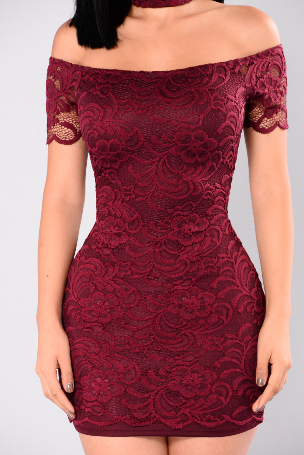 Rory Lace Dress - Burgundy
