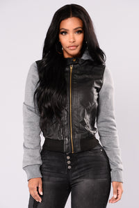 Tammy Faux Leather Jacket - Black/Grey