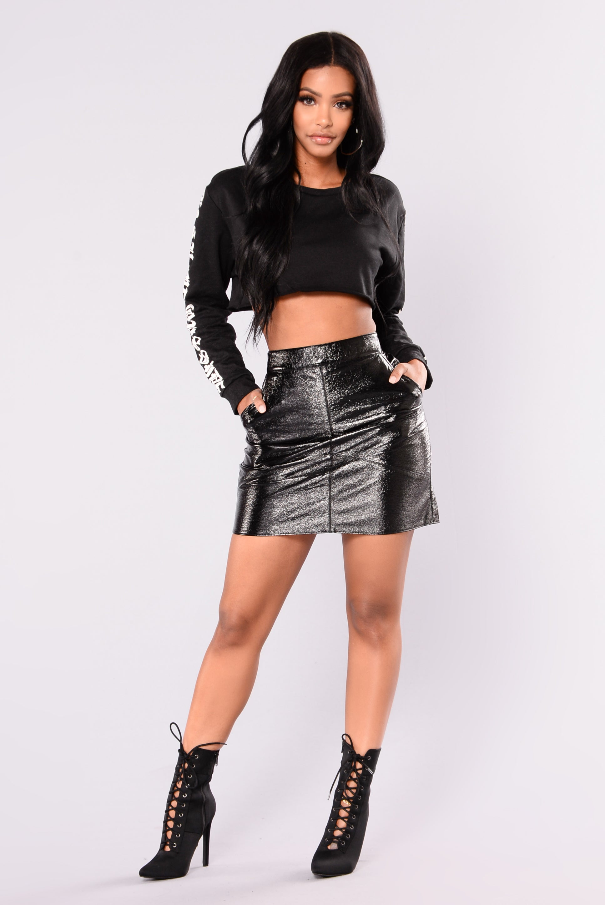 38a045ffd3e Cathy Faux Leather Skirt - Black