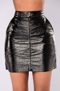 Cathy Faux Leather Skirt - Black