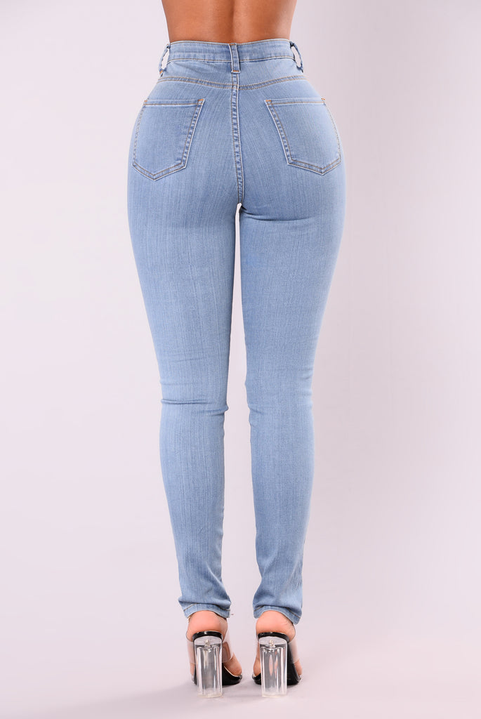 Kylee Lace Up Jeans - Blue