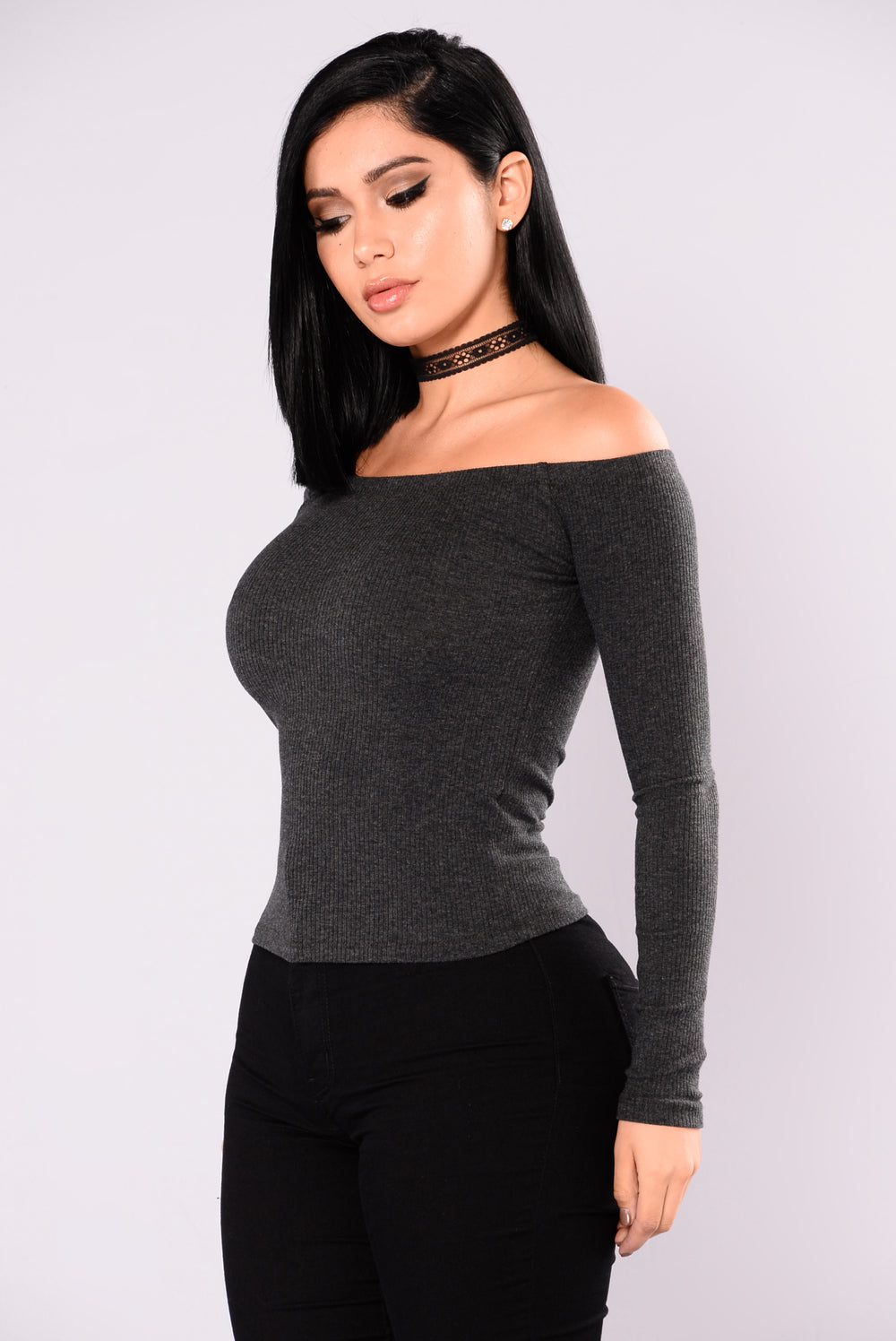 Overdrive Off Shoulder Top - Charcoal