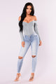 Fool In Love Off Shoulder Bodysuit - Blue