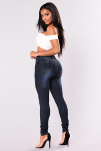 She's Unavailable Skinny Jeans - Dark Denim