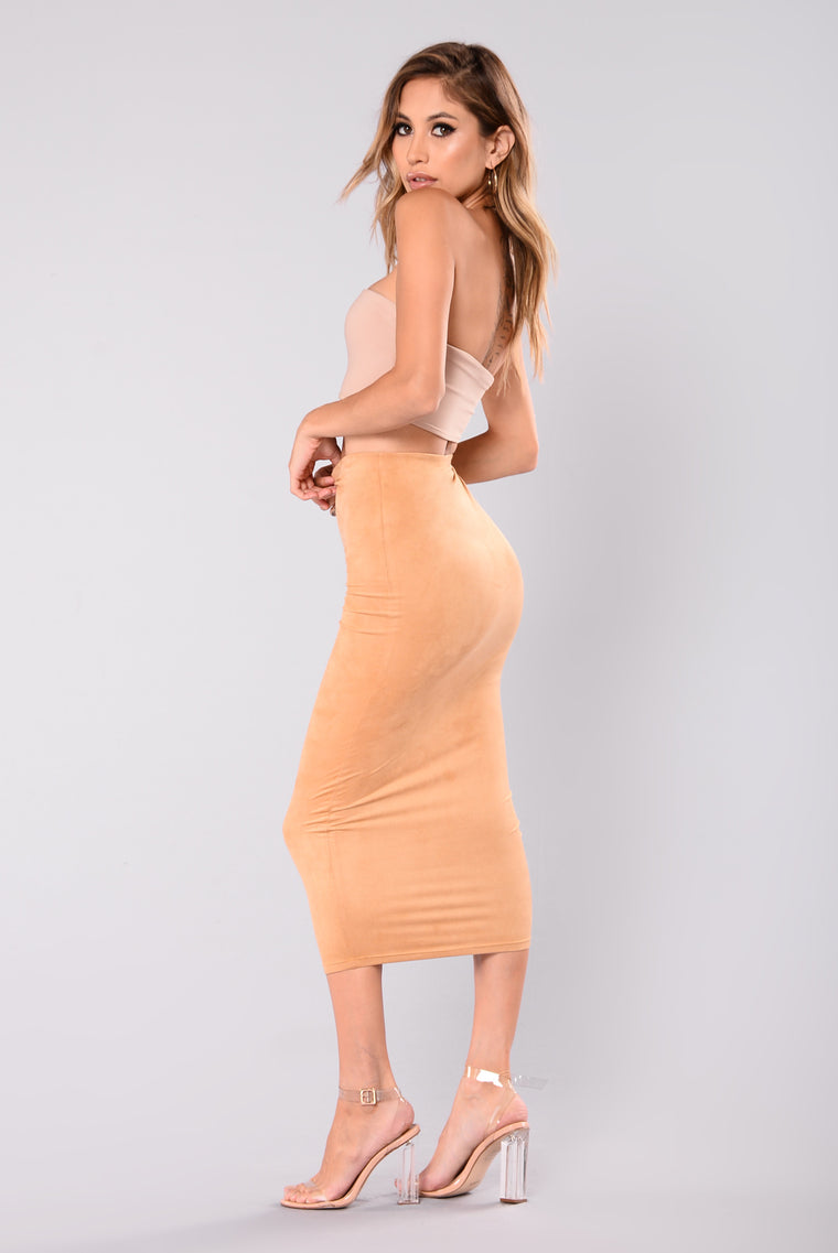 Stayed For A Suede Skirt - Camel