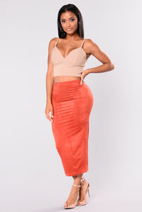 Stayed For A Suede Skirt - Rust