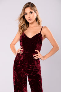 Kallie Velvet Jumpsuit - Wine