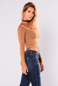 Adriana Square Neck Long Sleeve Top - Mustard