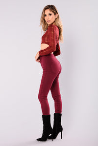 Paola Knit Crop Top - Burgundy