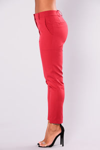Cassey Pleated Pants - Wine