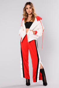 Run The Game Active Jacket - White/Red