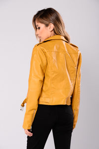Araxie Vegan Leather Jacket - Mustard