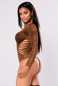 Golden Glitz Bodysuit - Rust
