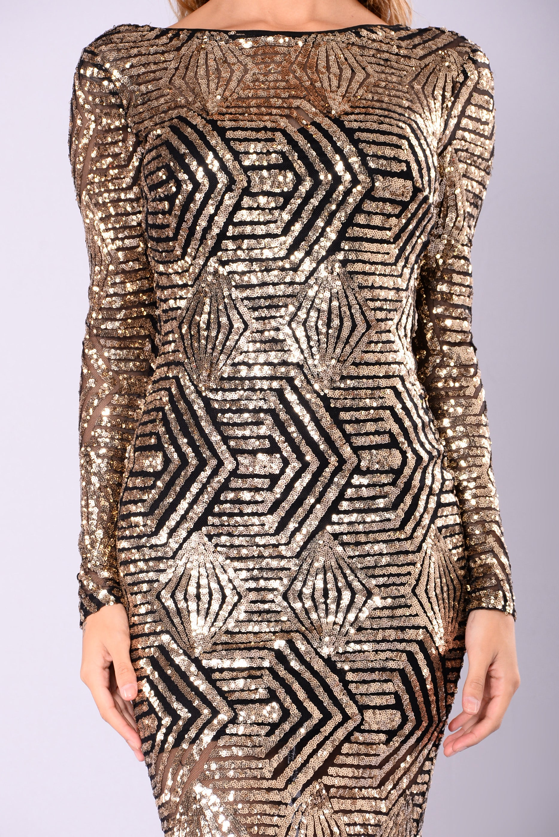 a3a5790f1c Emely Sequin Dress - Black Gold