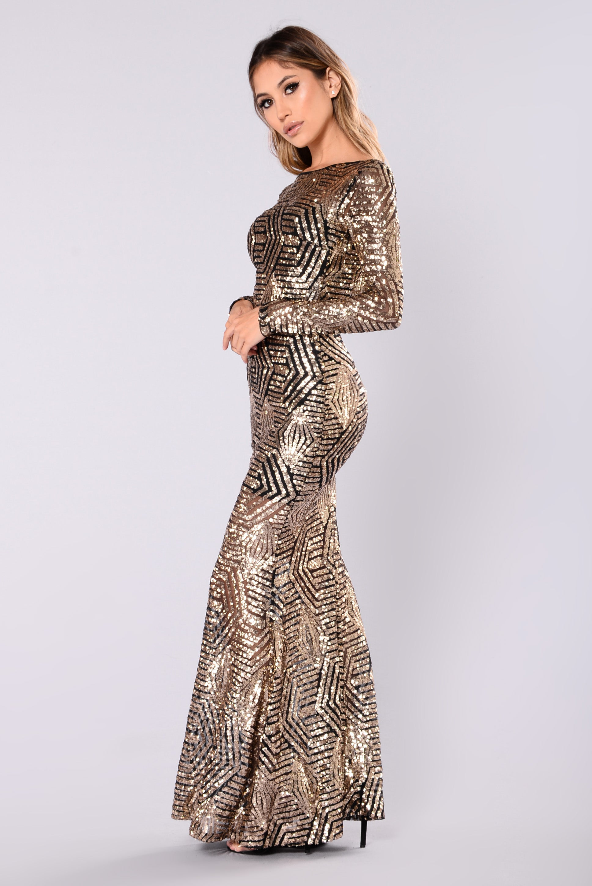 bd3e98a338f Emely Sequin Dress - Black Gold