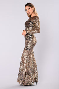 Emely Sequin Dress - Black/Gold