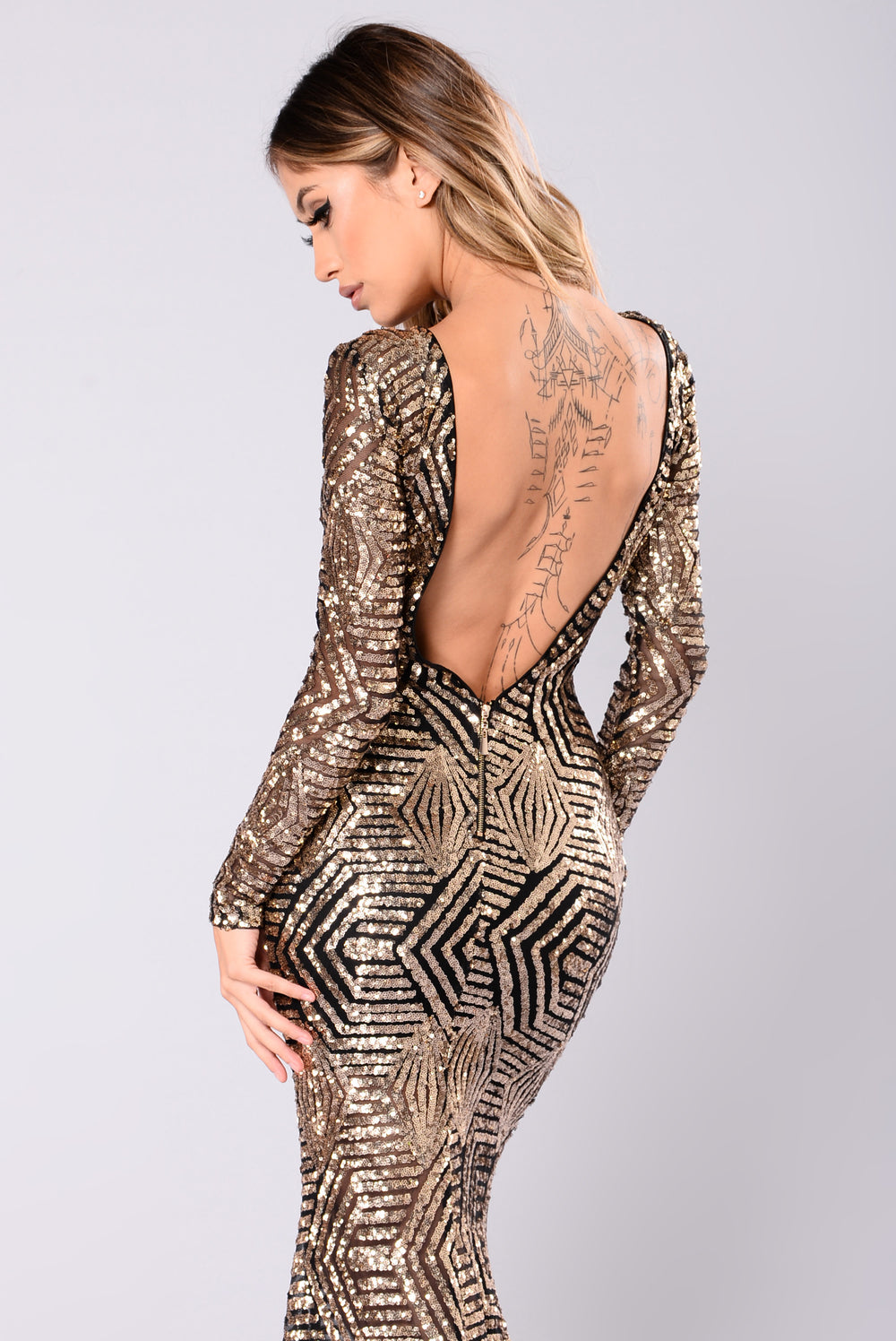 emely sequin dress  blackgold