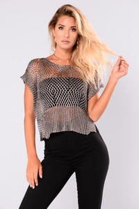 Arden Metallic Top - Gunmetal