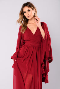 Isla Chiffon Dress - Wine
