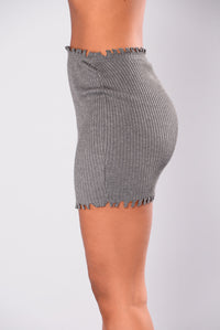 Sleepless Nights Distressed Skirt - Grey