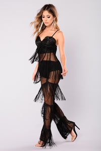 Main Stage Fringe Jumpsuit - Black