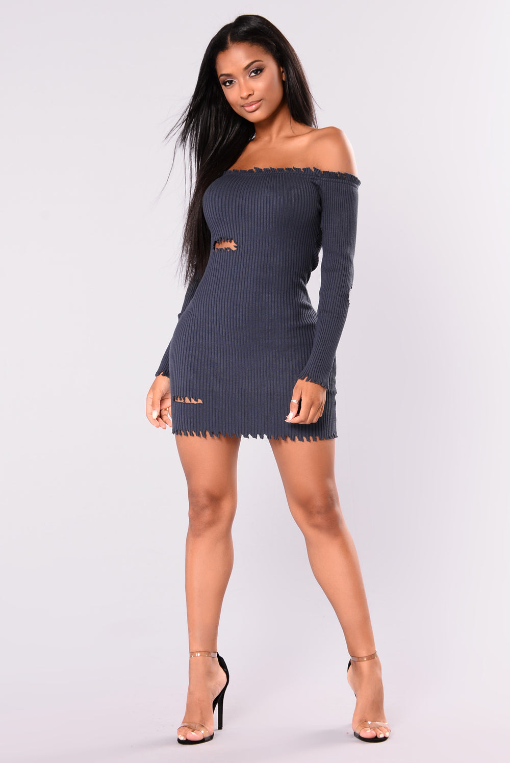 Harlow Frayed Off Shoulder Dress - Navy