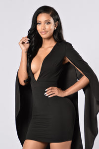 Can't Find Me Cape Dress - Black Angle 4
