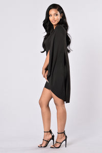 Can't Find Me Cape Dress - Black